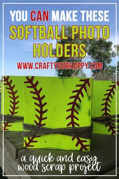 How To Make Softball Photo Holders From Wood Scraps – Craft Your Happy Softball Coach Gifts, Softball Gear, Softball Photos, Softball Uniforms, Softball Party, Softball Cheers, Softball Crafts, Softball Pitching, Softball Bows