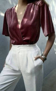 maroon and white outfit blouse + pants