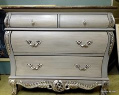 chalk painted furniture | Chalk Paint® on Furniture / Silver leaf details, ASCP