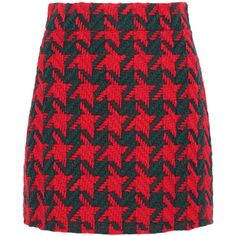 Gucci Houndstooth wool-blend mini skirt ($670) ❤ liked on Polyvore featuring skirts, mini skirts, gucci, bottoms, red, multi colored skirt, red skirt, houndstooth mini skirt and multi color skirt
