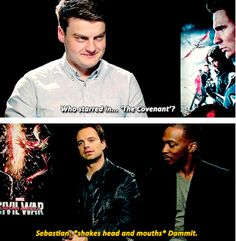 """Sebastian Stan & Anthony Mackie interview - """"The Covenant"""" question. (Language)"""