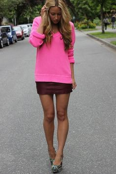 Hot pink sweater, purple skirt!