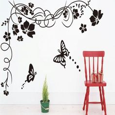 5.02$  Buy now - http://disoa.justgood.pw/go.php?t=185059301 - Fashion Black Flowers and Butterfly Pattern Removable DIY Wall Sticker
