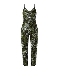 Black Palm Leaf Print Strappy Jumpsuit    New Look