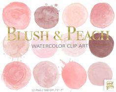 Blush Watercolor Circles Clip Art. Hand Painted Watercolour | Etsy