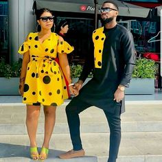ankara stil How about this look for you and your spouse for a photoshoot,engagements,weddings,outings etc? I will carefully sew them for you and your spouse with high quality fabric prints Couples African Outfits, African Dresses Men, African Clothing For Men, African Fashion Ankara, Latest African Fashion Dresses, African Print Fashion, African Attire, African Prints, African Fabric
