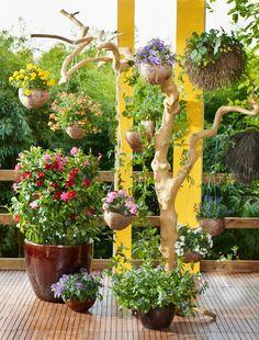 """Hängende Gärten ! Upside Down, Sky Planter. Wer sagt, dass Pflanzen immer auf dem Boden stehen müssen. Platzsparende dekorative Outdoor-Inszenierung. Die Verwendung dieses Bildes ist für redaktionelle Zwecke honorarfrei. Veröffentlichung bitte unter Quellenangabe: """"Fachverband Deutscher Floristen e.V./Blumenbüro"""""""
