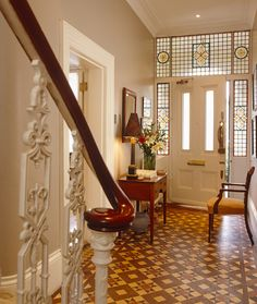 Hallway ideas are so important for a modern hallway decor - Hallway is an identity card at homes, and hallway design should be given maximum attention. Hall Tiles, Tiled Hallway, Modern Hallway, Entry Hallway, Entrance Hall, Victorian Hallway, Victorian Tiles, Victorian Decor, Hallway Designs