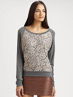 Haute Hippie Lace-Trim SIlk Sweatshirt