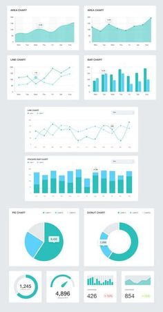 This pack contains 12 unique graphs for use in UI design. Included are line charts, bar charts, area charts, pie charts and donut charts. These graphi. Kpi Dashboard, Dashboard Design, Social Media Dashboard, Design Ui, Ui Design Mobile, Graphic Design Resume, Layout Design, Poster Design, Web Design Trends
