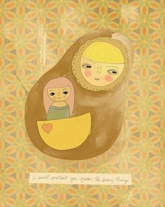 The Scary Things // Illustration Print Children by Lisa Barbero
