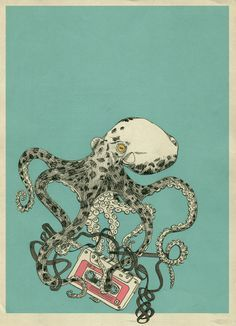 Emphasis through color. Even with the highly detailed octopus, my eye stays drawn to the red tape in the tentacles. Art And Illustration, Illustrations, Octopus Illustration, Le Kraken, Octopus Art, Octopus Tentacles, Art Inspo, Creepy, Cool Art