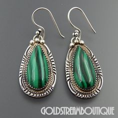 RUNNING BEAR SHOP STERLING SILVER MALACHITE DROPLET SOUTHWESTERN HOOK EARRINGS #RUNNINGBEARSHOP
