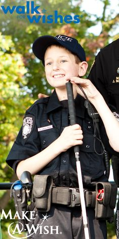 Living with an optic glioma brain tumor, that has left him blind, 13-year-old Gage wished to be a police office. At last year's Puget Sound #WalkForWishes, Gage was sworn in as an officer in front of over 800 cheering fans. You are our hero, Gage.
