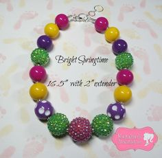 """Bright Springtime"" Chunky Beaded Necklace, Photo Prop, Girly"