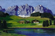 Alfons Walde (Oberndorf Kitzbühel) Lake Schwarzsee with the Wild Kaiser mountains, Kitzbühel, c. oil on cardboard, 42 x 63 cm Wilder Kaiser, Kunst Online, Artwork Images, Museum, Grafik Design, Mount Rushmore, Skiing, In This Moment, Painting