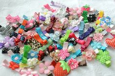 6 Assorted Non Slip Hair Clips  Grab Bag Tuxedo Bow by CateyD, $4.95