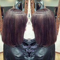 グレープグレー🍇  写真では透明感が伝わりにくいですが 光に透けるとってもかわいいカラーです❤ ばっさりカットしてワンカールにスタイリング✨ あゆみちゃんありがとうございます😉  #グレープグレー #パープル #グレーパープル #ヘアカラー #haircolor  #grapegray #purplegray #くすみ系ヘアカラー  #purple #gray #hairstyles #hairsalon #Welina #hitomiyanagida #myworks #お客様photo