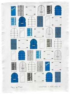 Doors Tea Towel - by Portland designers Nell & Mary