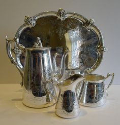 Antique English Silver Plated Coffee Set With Tray  by Puckerings