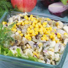 Sałatka z pieczarkami Salad Dressing, Cobb Salad, Salad Recipes, Good Food, Vegetables, Drinks, Cooking, Impreza, Easter