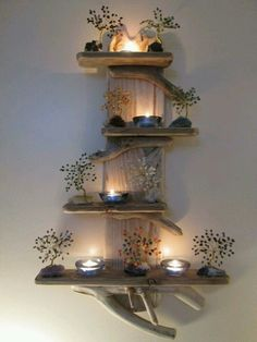 DIY idea for driftwood candle holder shelves