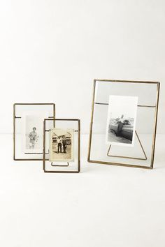Anthropologie Home Decor: Pressed Glass Photo Frame. Minimalist mixed metal iron and glass home decor. Antique Brass, Nickel, and Copper finishes that fit any home decor style. Decoration Bedroom, Room Decor, Glass Photo Frames, Small Photo Frames, Floating Picture Frames, Gold Photo Frames, Vintage Photo Frames, Floating Frame, A Frame Cabin