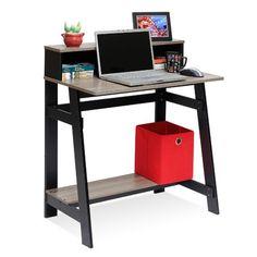 Furinno Simplistic Computer Desk with Built-In Hutch Finish: Espresso Secretary Desk With Hutch, Built In Hutch, Desk Hutch, Secretary Desks, Built In Desk, Computer Desk Walmart, Computer Desk With Hutch, Computer Tables, Computer Shelf