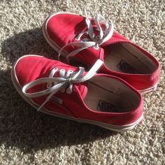 Boys Red Vans Shoes Kids Authentic Red Vans, kids size 1.5. Gently worn for a few months before my son outgrew them. Vans Shoes Sneakers