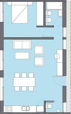 Plano de casa ancha y corta de 1 dormitorio