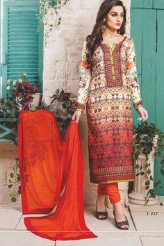 stylish funcional wear pasmina digital print orange white dress