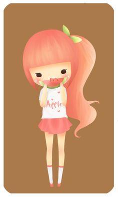 Apple Girl enjoys watermelon by lil-mini-artist.deviantart.com on @DeviantArt