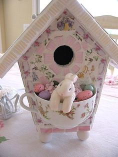 The Easter Bunny is here, and it looks like he's robbing the nice bird's eggs. Just kidding...great idea! Love it!