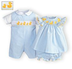 Darling Duckies Hand-Smocked Outfits for Babies and Toddlers. Boy Girl Twin Outfits, Twin Baby Clothes, Twin Baby Boys, Boy Girl Twins, Baby Girl Shoes, Twin Babies, Little Girl Dresses, Kids Outfits, Girls Special Occasion Dresses