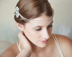 Crystal Bridal Forehead band Headband crystal by GildedShadows