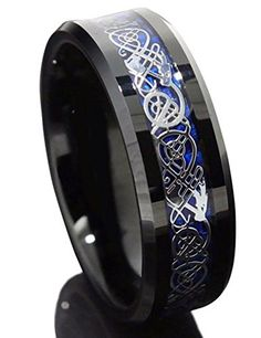 King Will 8mm Black Tungsten Carbide Ring Blue Carbon Fiber Silver Celtic Dragon Men Wedding Band(12.5) King Will http://www.amazon.com/dp/B00HLC7544/ref=cm_sw_r_pi_dp_YPj5wb07NX8Q2
