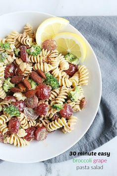 This 30 Minute Easy Broccoli Grape Pasta Salad is so quick and easy to prepare. Only takes 30 minutes and perfect for lunch, dinner, parties, or pic nicks. Vegan and Gluten free Option. / TwoRaspberries.com