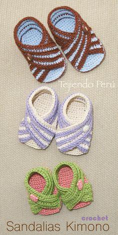 Crochet paso a paso: sandalias Kimono (unisex en 3 tallas)!