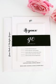 Simple Modern Wedding Invitation - Black and White Invitation - Whimsy and Script Design - Deposit on Etsy, $100.00