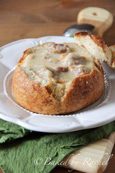 Slow Cooker Cheddar Ale and Bratwurst Soup in Pretzel Bowls - bakedbyrachel.com
