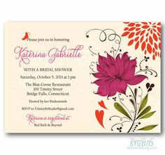 Bridal Shower Invitation - Artful Floral Garden- Birthday Party - Choice of Colors - diy printable digital design #gardenPartyInvitation personalized wedding butterfly navy blue mustard yellow 50th custom invite hot pink luncheon eggplant purple scarlet red orange baby shower winter 17.00 USD TrinityStStudio
