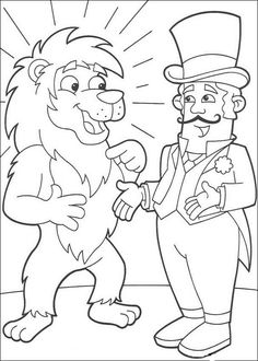 Clown Coloring Pages   Lion and Circus director coloring page