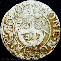 POLAND 1623 Silver 3 POLKER 1/24 Thaler sku #PL28 17th Century, Poland, Medieval, Coins, Silver, Historia, Rooms, Mid Century, Middle Ages