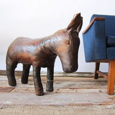 1950's leather donkey foot stool