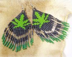 """3"""" semillas de cannabis de cuentas pendientes ~ nativa americana ~ malezas hoja de Cannabis tribales ~ nativa marihuana verde hoja ~ semilla de hierba de Cannabis maceta hojas negro"""
