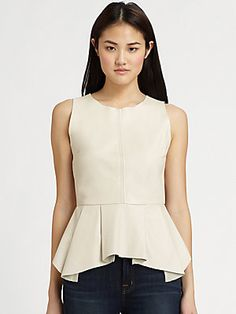 PJK Patterson J. Kincaid Erin Leather Peplum Top