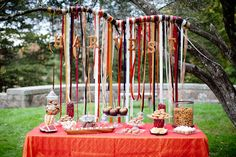 Harvest Hors D'oeuvres table with ribbon curtain on branch by Gracie Lou Events via @Lisa Hauptman for @Amy Atlas. Photo by Tyra Bleek Photography.