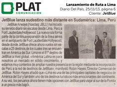 JetBlue: Lanzamiento de ruta a Lima en el diario Del País de Perú (19/11/13)