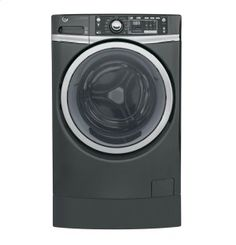 GFW490RPKDG in Diamond Gray by GE Appliances in Westwood, NJ - GE® ENERGY STAR® 4.9 DOE cu. ft. capacity RightHeight™ Design Front Load washer with steam