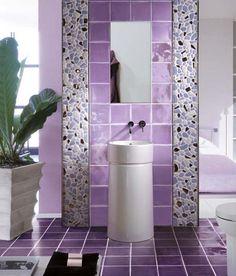 Purple wall tile bathroom colors for small bathroom decor Modern Bathroom Tile, Bathroom Tile Designs, White Bathroom, Bathroom Ideas, Lavender Bathroom, Bathroom Wall, Bathroom Tiling, Colorful Bathroom, Bathroom Furniture